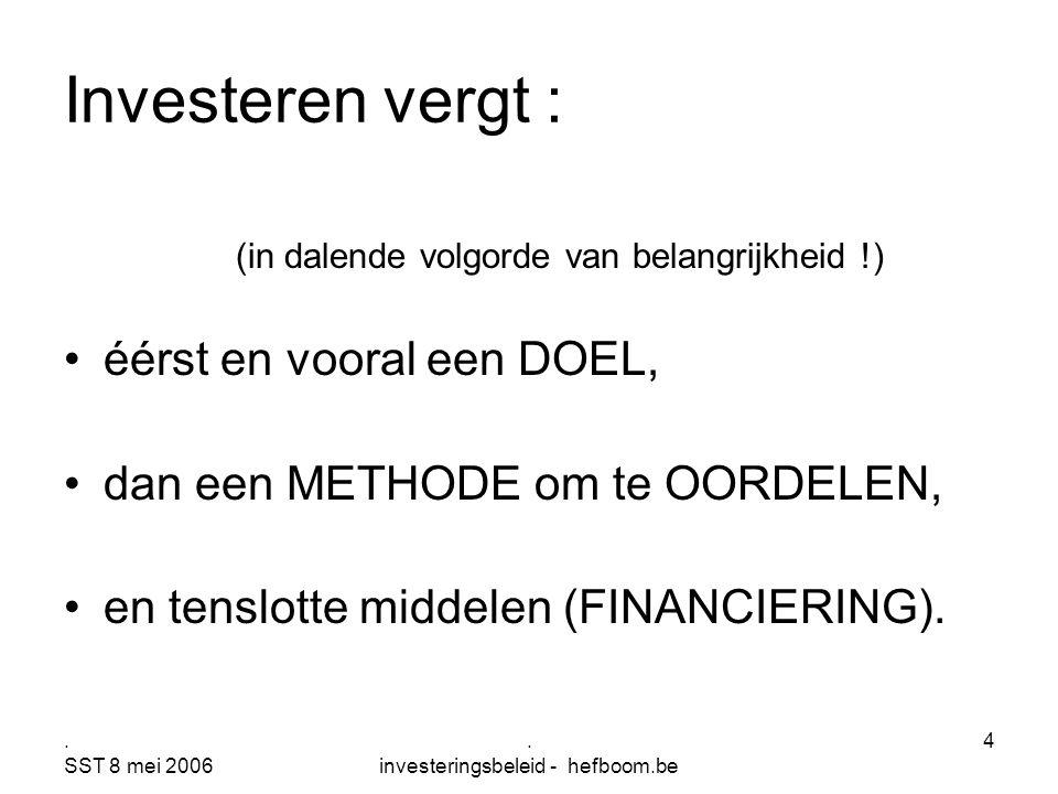 . SST 8 mei 2006. investeringsbeleid - hefboom.be 4 Investeren vergt : (in dalende volgorde van belangrijkheid !) éérst en vooral een DOEL, dan een ME