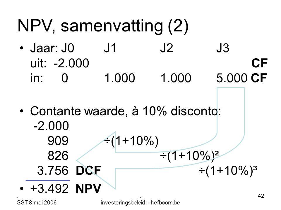 . SST 8 mei 2006. investeringsbeleid - hefboom.be 42 Jaar: J0J1J2J3 uit: -2.000 CF in: 01.0001.0005.000 CF Contante waarde, à 10% disconto: -2.000 909