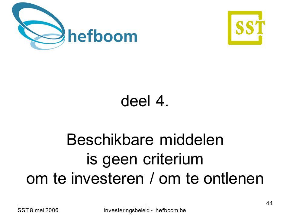 . SST 8 mei 2006. investeringsbeleid - hefboom.be 44 deel 4. Beschikbare middelen is geen criterium om te investeren / om te ontlenen