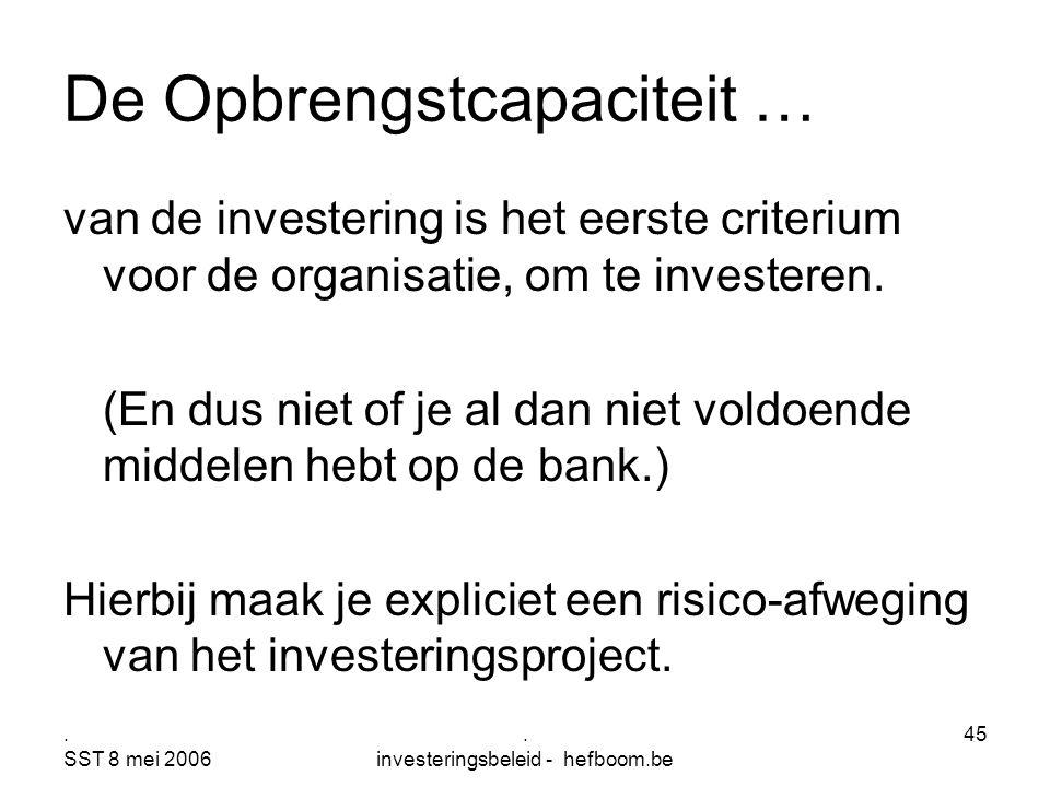 . SST 8 mei 2006. investeringsbeleid - hefboom.be 45 De Opbrengstcapaciteit … van de investering is het eerste criterium voor de organisatie, om te in