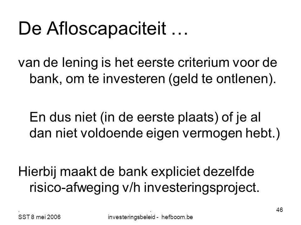 . SST 8 mei 2006. investeringsbeleid - hefboom.be 46 De Afloscapaciteit … van de lening is het eerste criterium voor de bank, om te investeren (geld t