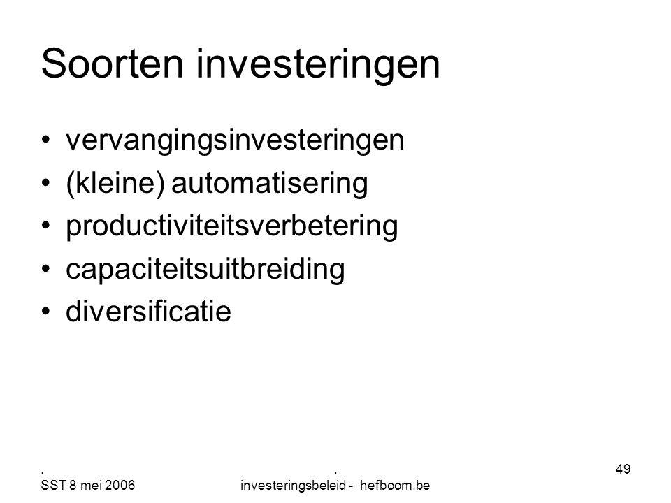 . SST 8 mei 2006. investeringsbeleid - hefboom.be 49 Soorten investeringen vervangingsinvesteringen (kleine) automatisering productiviteitsverbetering