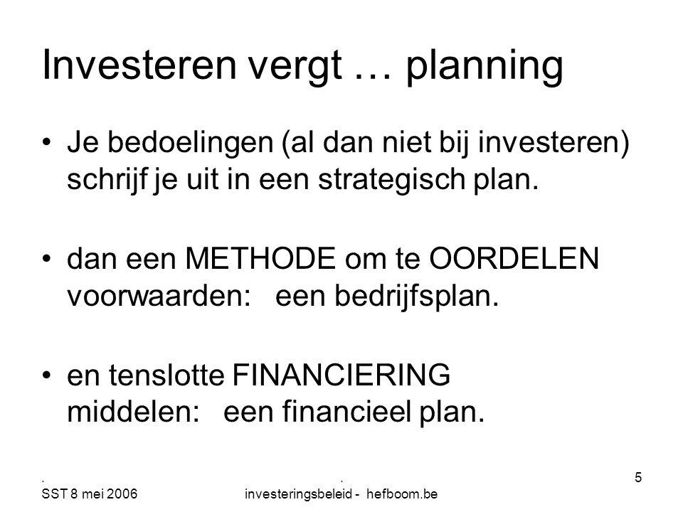 . SST 8 mei 2006. investeringsbeleid - hefboom.be 5 Investeren vergt … planning Je bedoelingen (al dan niet bij investeren) schrijf je uit in een stra