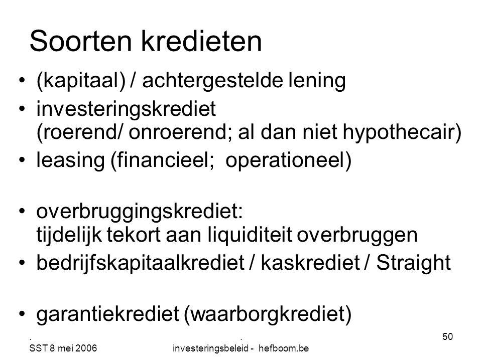 . SST 8 mei 2006. investeringsbeleid - hefboom.be 50 Soorten kredieten (kapitaal) / achtergestelde lening investeringskrediet (roerend/ onroerend; al