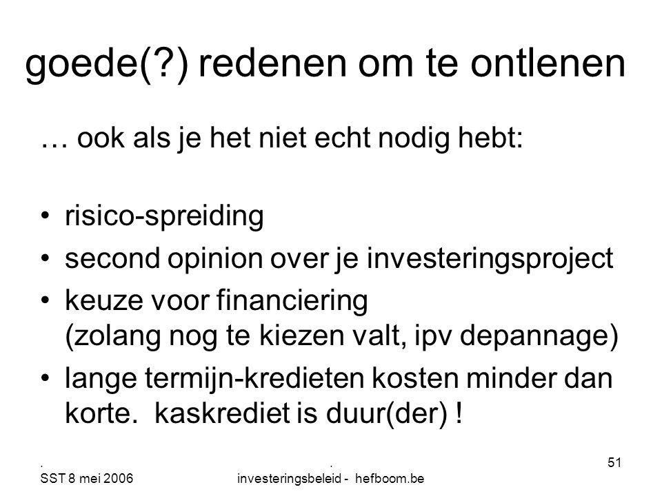 . SST 8 mei 2006. investeringsbeleid - hefboom.be 51 goede(?) redenen om te ontlenen … ook als je het niet echt nodig hebt: risico-spreiding second op