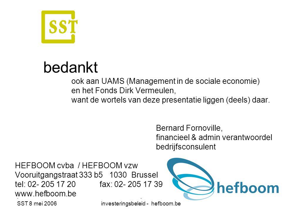 . SST 8 mei 2006. investeringsbeleid - hefboom.be 52 bedankt ook aan UAMS (Management in de sociale economie) en het Fonds Dirk Vermeulen, want de wor
