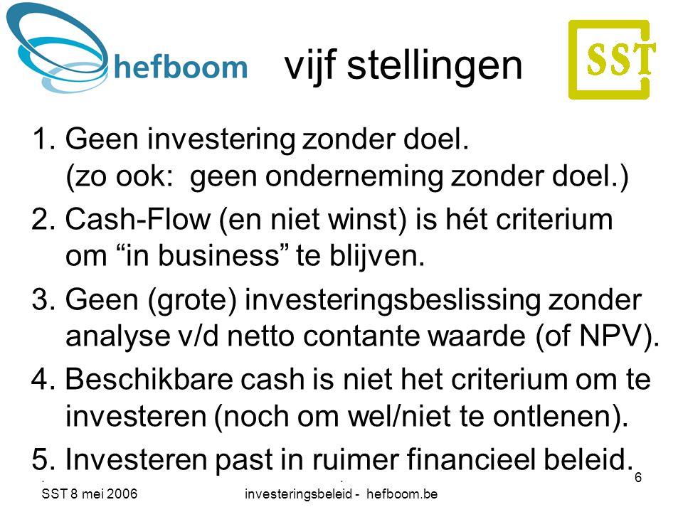 . SST 8 mei 2006. investeringsbeleid - hefboom.be 6 vijf stellingen 1. Geen investering zonder doel. (zo ook: geen onderneming zonder doel.) 2. Cash-F