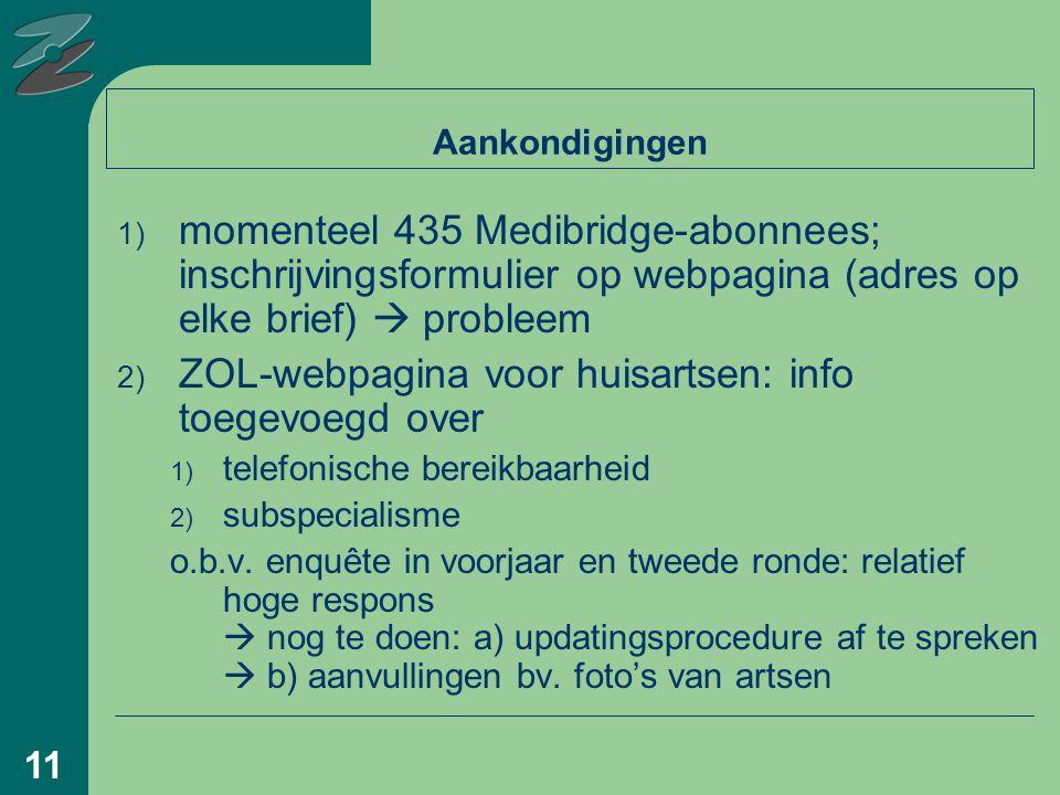 11 Aankondigingen 1) momenteel 435 Medibridge-abonnees; inschrijvingsformulier op webpagina (adres op elke brief)  probleem 2) ZOL-webpagina voor huisartsen: info toegevoegd over 1) telefonische bereikbaarheid 2) subspecialisme o.b.v.