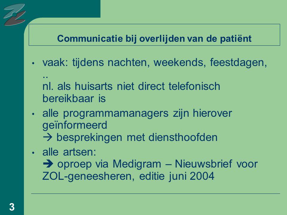 3 Communicatie bij overlijden van de patiënt vaak: tijdens nachten, weekends, feestdagen,..