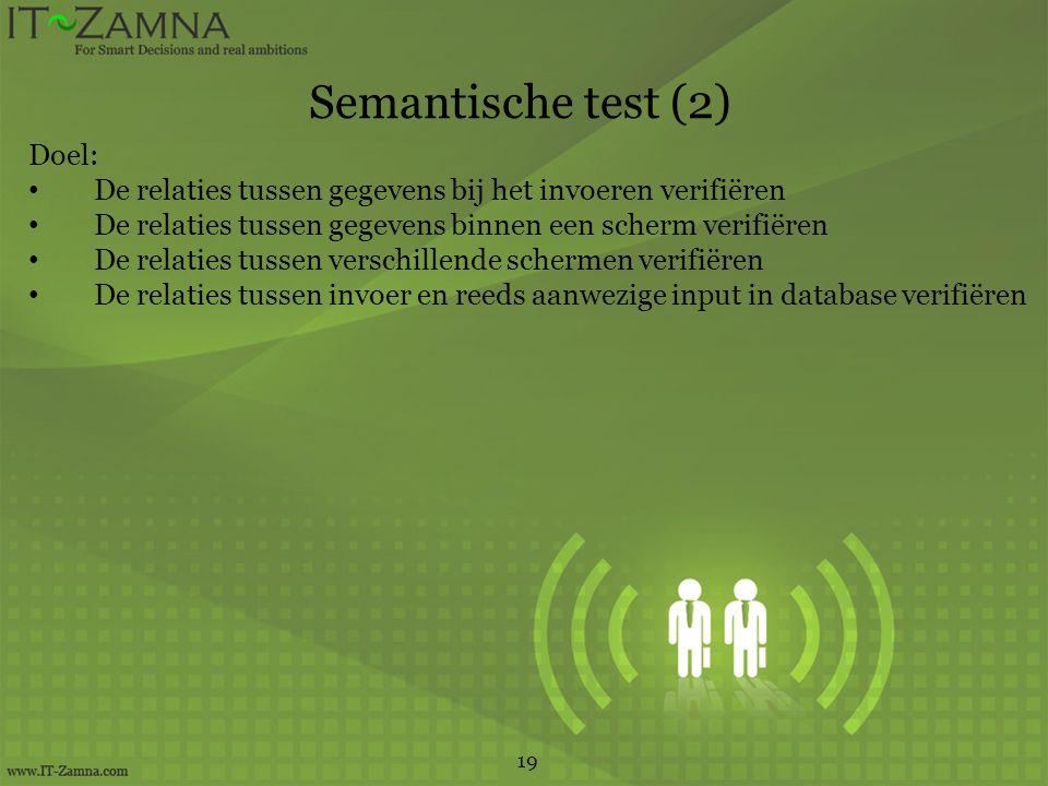Semantische test (2) 19 Doel: De relaties tussen gegevens bij het invoeren verifiëren De relaties tussen gegevens binnen een scherm verifiëren De relaties tussen verschillende schermen verifiëren De relaties tussen invoer en reeds aanwezige input in database verifiëren