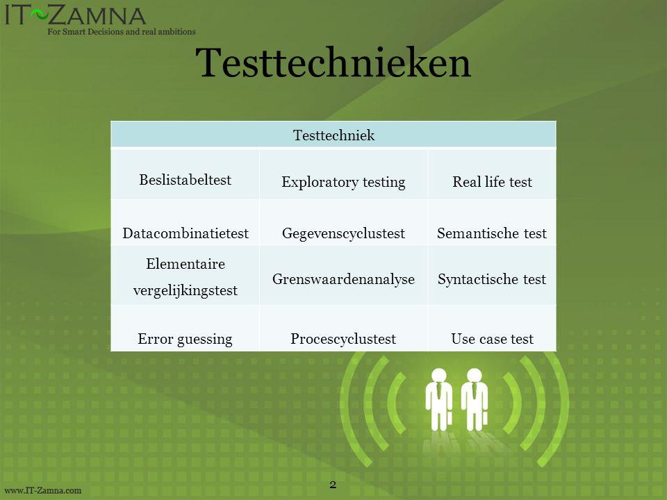 Testtechnieken 2 Testtechniek Beslistabeltest Exploratory testingReal life test DatacombinatietestGegevenscyclustestSemantische test Elementaire vergelijkingstest GrenswaardenanalyseSyntactische test Error guessingProcescyclustestUse case test