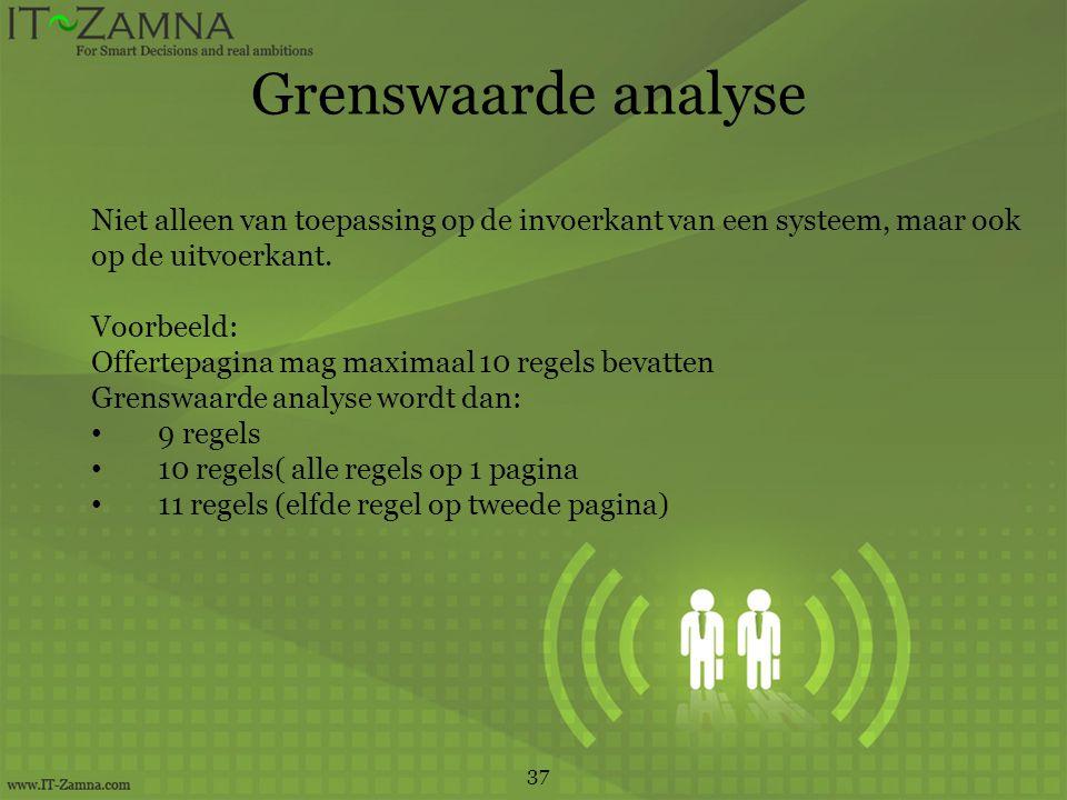 Grenswaarde analyse 37 Niet alleen van toepassing op de invoerkant van een systeem, maar ook op de uitvoerkant.