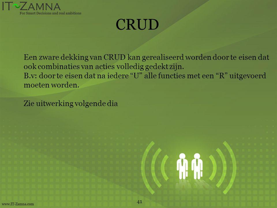 CRUD 41 Een zware dekking van CRUD kan gerealiseerd worden door te eisen dat ook combinaties van acties volledig gedekt zijn.