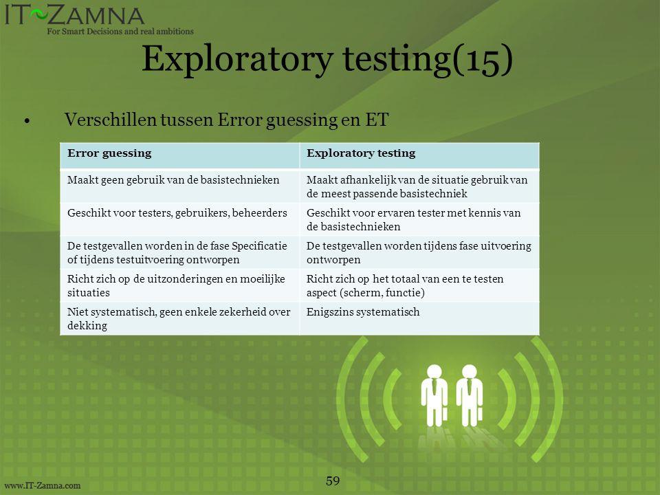 Exploratory testing(15) Verschillen tussen Error guessing en ET 59 Error guessingExploratory testing Maakt geen gebruik van de basistechniekenMaakt afhankelijk van de situatie gebruik van de meest passende basistechniek Geschikt voor testers, gebruikers, beheerdersGeschikt voor ervaren tester met kennis van de basistechnieken De testgevallen worden in de fase Specificatie of tijdens testuitvoering ontworpen De testgevallen worden tijdens fase uitvoering ontworpen Richt zich op de uitzonderingen en moeilijke situaties Richt zich op het totaal van een te testen aspect (scherm, functie) Niet systematisch, geen enkele zekerheid over dekking Enigszins systematisch