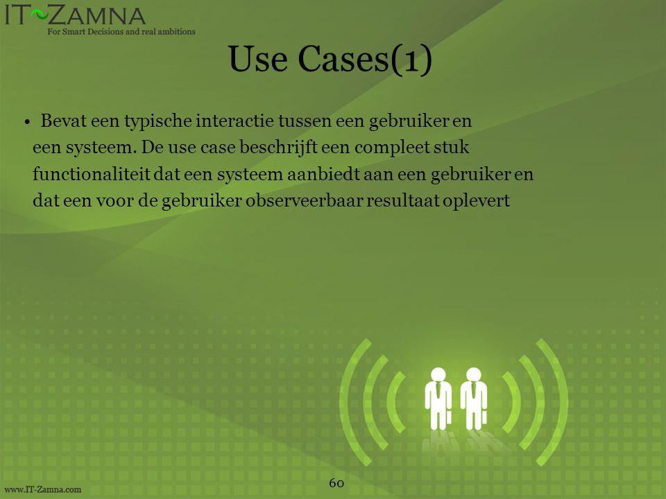 Use Cases(1) Bevat een typische interactie tussen een gebruiker en een systeem.