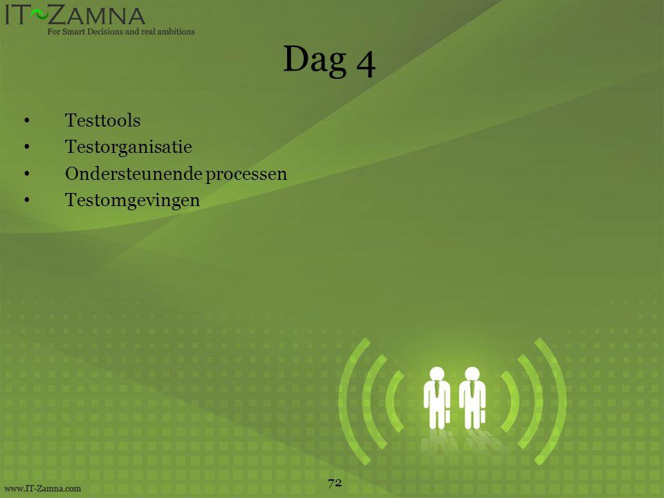 Dag 4 Testtools Testorganisatie Ondersteunende processen Testomgevingen 72