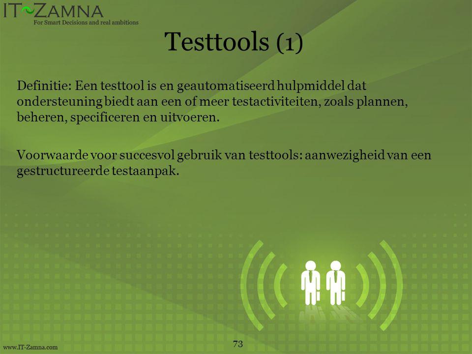 Testtools (1) Definitie: Een testtool is en geautomatiseerd hulpmiddel dat ondersteuning biedt aan een of meer testactiviteiten, zoals plannen, beheren, specificeren en uitvoeren.
