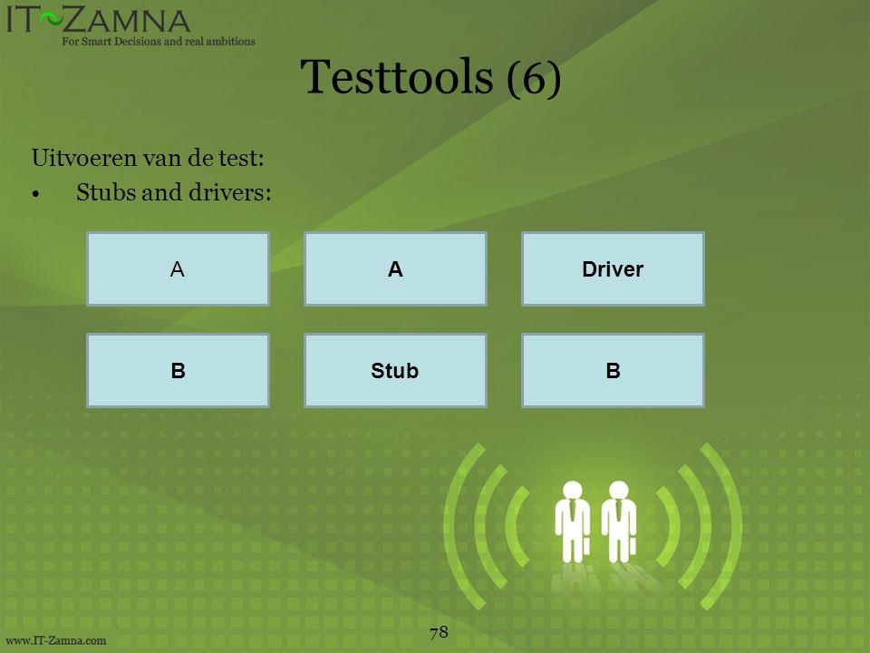 Testtools (6) Uitvoeren van de test: Stubs and drivers: 78 AADriver BStubB
