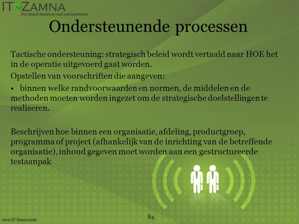 Ondersteunende processen Tactische ondersteuning: strategisch beleid wordt vertaald naar HOE het in de operatie uitgevoerd gaat worden.