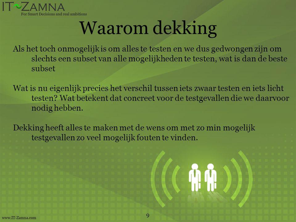 Semantische test 30 Voorbeeld: Semantische controle regel: Als klant in Nederland woont EN (postcode voldoet niet aan Nederlands formaat OF landcode is niet gelijk aan 31) DAN resulteert dit in een foutmelding B1 A EN (B of C) 1 Foutmelding 0n Geldige invoer A: klant in Nederland1,1,0 (1)0,1,0 (3) B: postcode niet in NL1,1,01,0,0 (4) C: landcode ongelijk aan 31 1,0,1` (2)1,0,0
