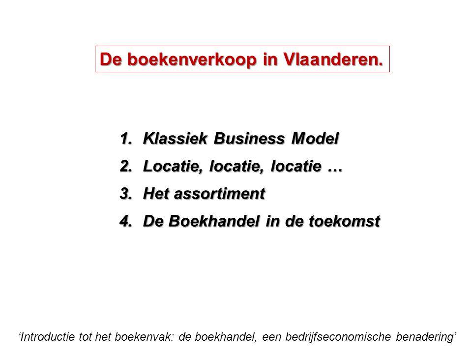 'Introductie tot het boekenvak: de boekhandel, een bedrijfseconomische benadering' 1.Klassiek Business Model 2.Locatie, locatie, locatie … 3.Het assortiment 4.De Boekhandel in de toekomst De boekenverkoop in Vlaanderen.