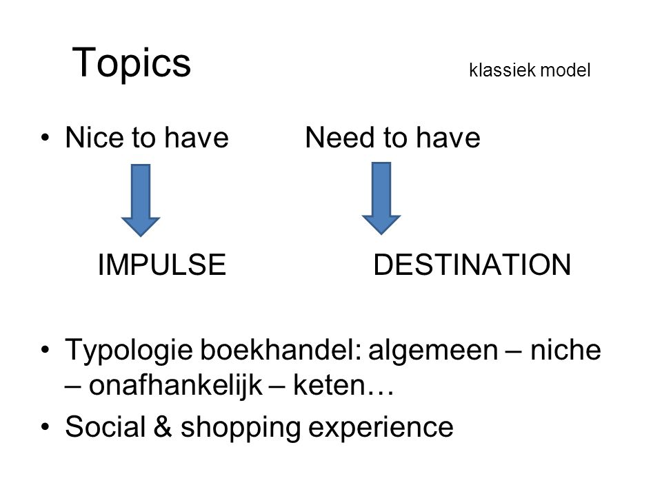 Topics klassiek model Nice to have Need to have IMPULSE DESTINATION Typologie boekhandel: algemeen – niche – onafhankelijk – keten… Social & shopping