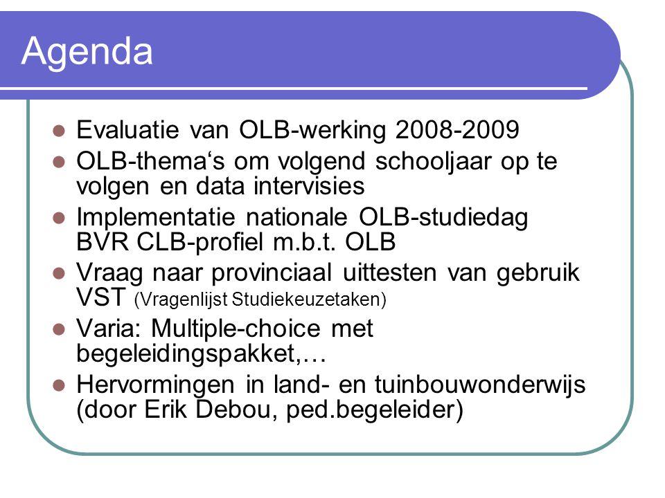 Agenda Evaluatie van OLB-werking 2008-2009 OLB-thema's om volgend schooljaar op te volgen en data intervisies Implementatie nationale OLB-studiedag BVR CLB-profiel m.b.t.
