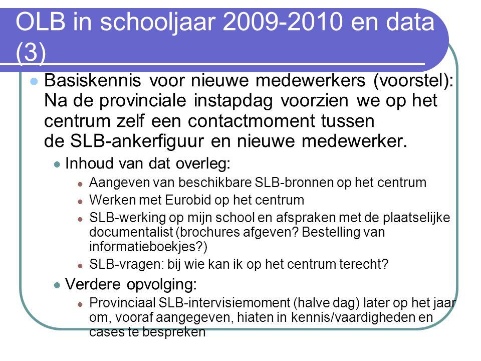 OLB in schooljaar 2009-2010 en data (3) Basiskennis voor nieuwe medewerkers (voorstel): Na de provinciale instapdag voorzien we op het centrum zelf een contactmoment tussen de SLB-ankerfiguur en nieuwe medewerker.