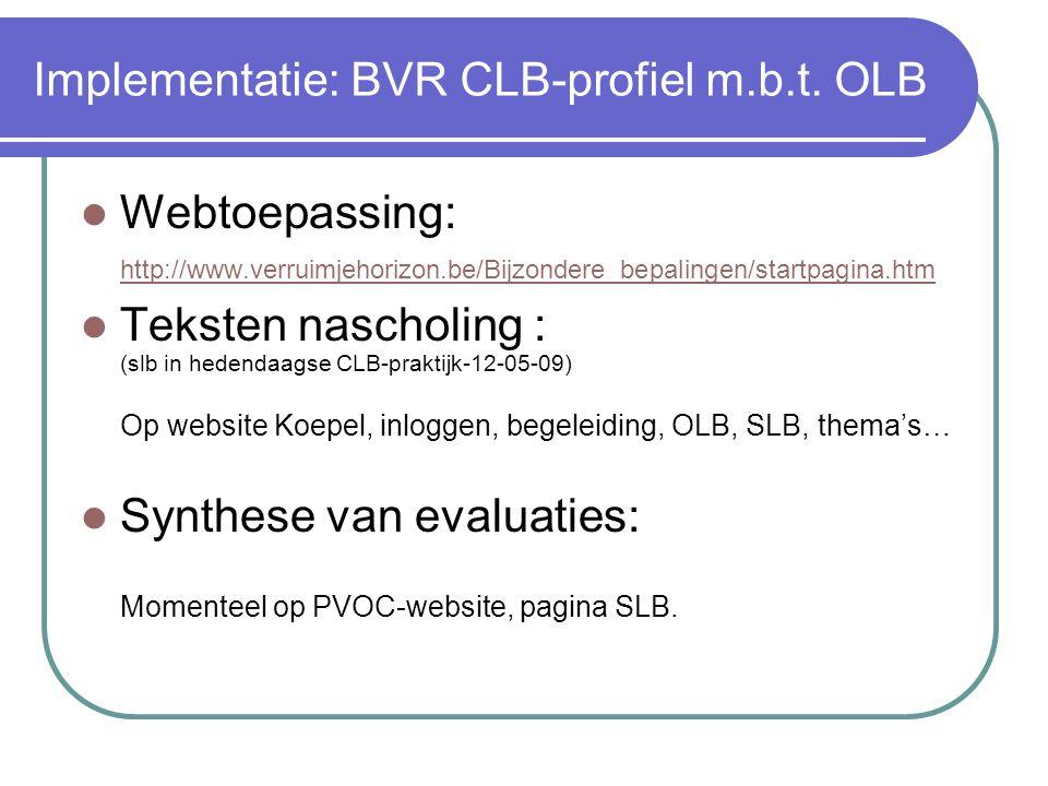 Implementatie: BVR CLB-profiel m.b.t.