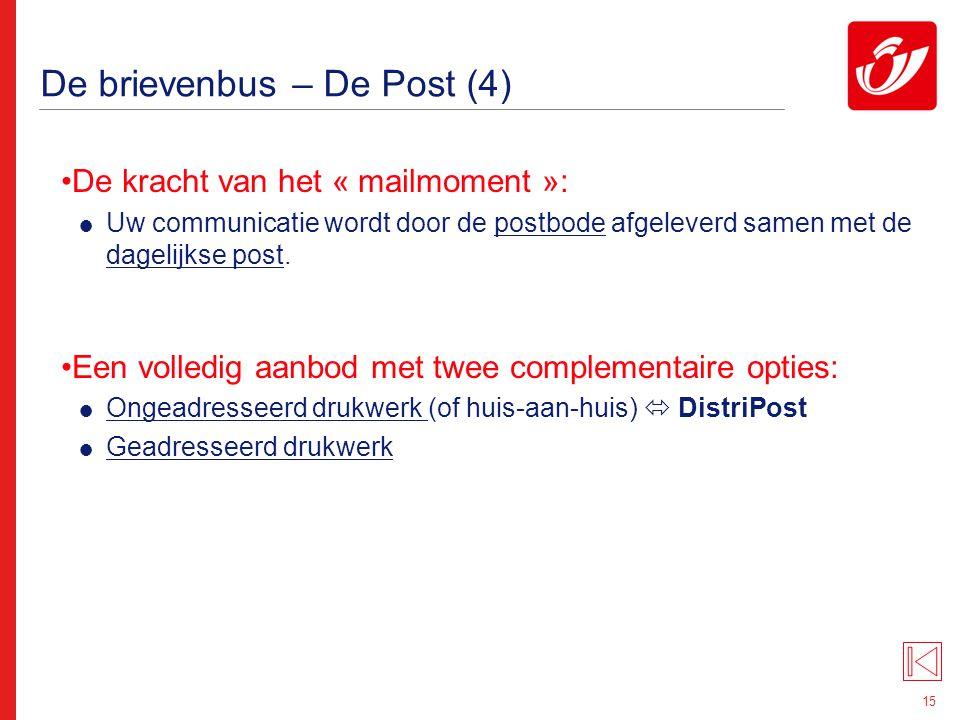 15 De brievenbus – De Post (4) De kracht van het « mailmoment »:  Uw communicatie wordt door de postbode afgeleverd samen met de dagelijkse post. Een