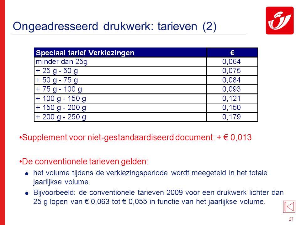27 Ongeadresseerd drukwerk: tarieven (2) Supplement voor niet-gestandaardiseerd document: + € 0,013 De conventionele tarieven gelden:  het volume tij