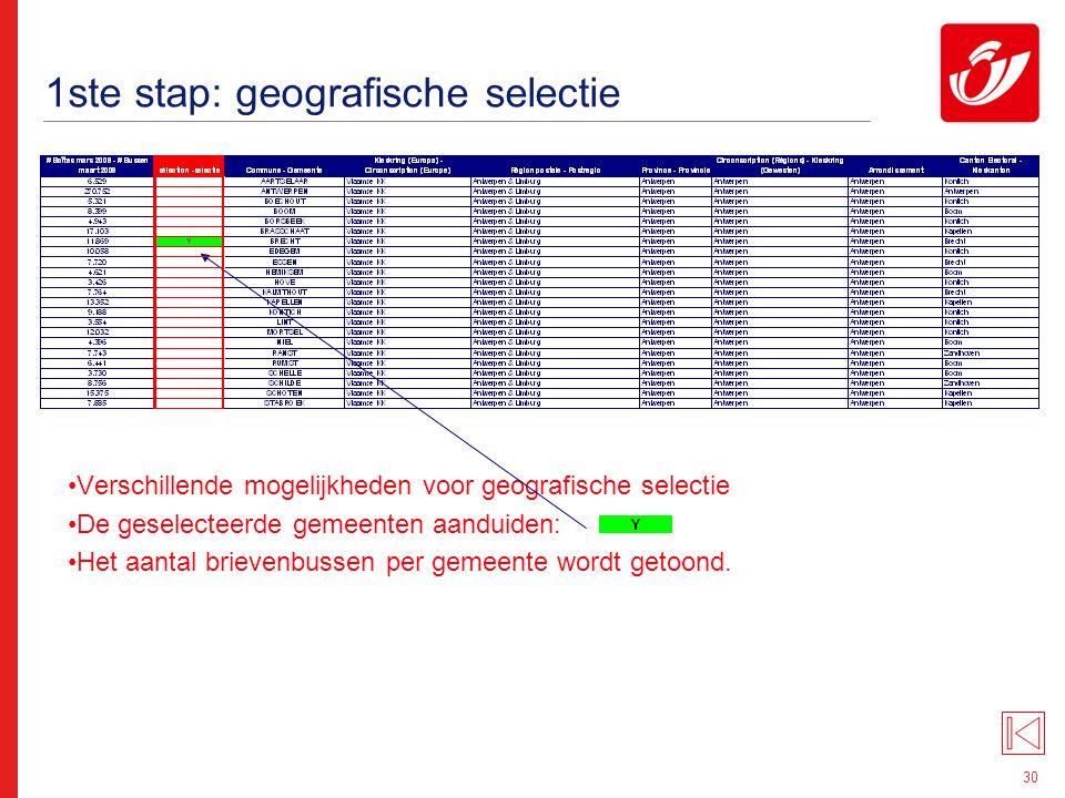 30 1ste stap: geografische selectie Verschillende mogelijkheden voor geografische selectie De geselecteerde gemeenten aanduiden: Het aantal brievenbus