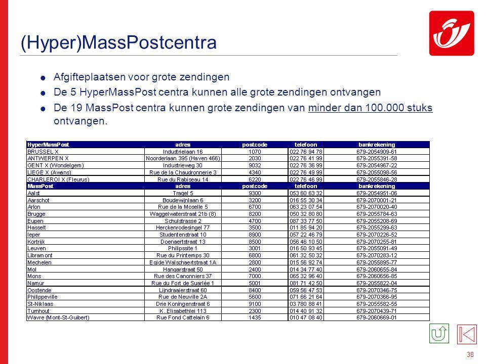 38 (Hyper)MassPostcentra  Afgifteplaatsen voor grote zendingen  De 5 HyperMassPost centra kunnen alle grote zendingen ontvangen  De 19 MassPost cen