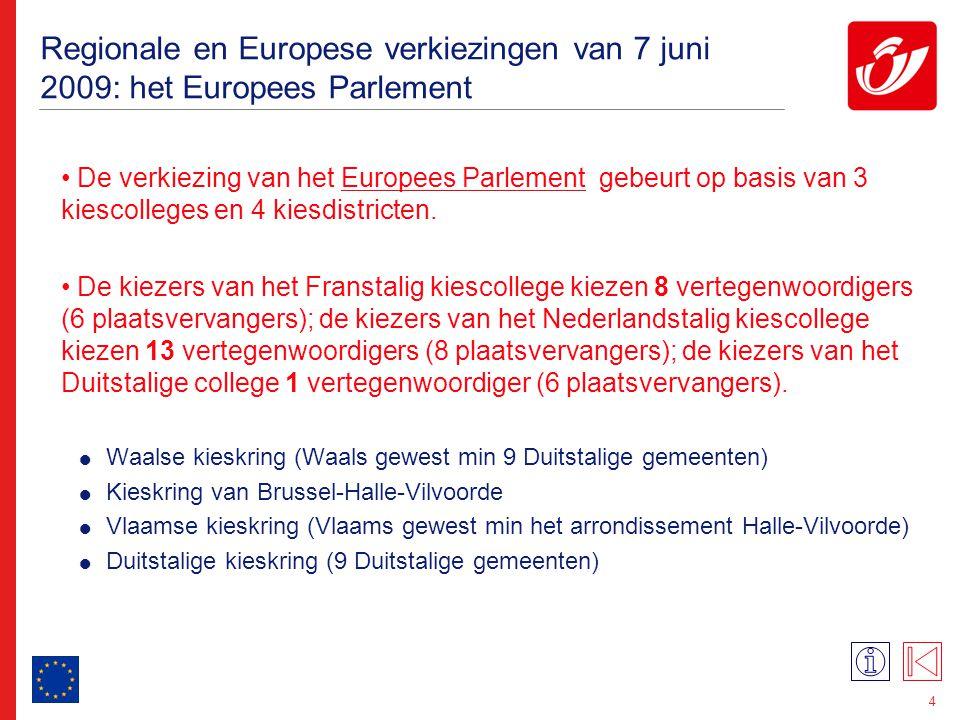 4 Regionale en Europese verkiezingen van 7 juni 2009: het Europees Parlement De verkiezing van het Europees Parlement gebeurt op basis van 3 kiescolle