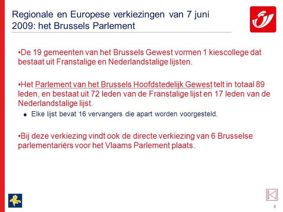 6 Regionale en Europese verkiezingen van 7 juni 2009: het Brussels Parlement De 19 gemeenten van het Brussels Gewest vormen 1 kiescollege dat bestaat