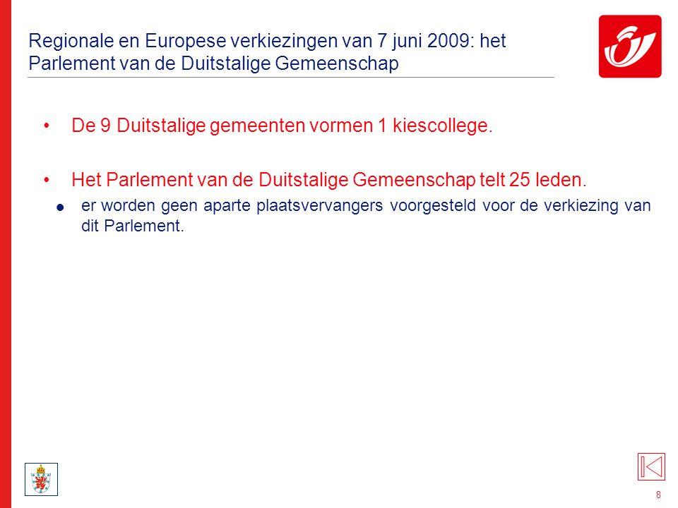 8 Regionale en Europese verkiezingen van 7 juni 2009: het Parlement van de Duitstalige Gemeenschap De 9 Duitstalige gemeenten vormen 1 kiescollege. He