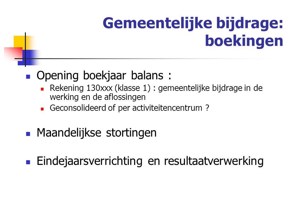 Gemeentelijke bijdrage: boekingen Opening boekjaar balans : Rekening 130xxx (klasse 1) : gemeentelijke bijdrage in de werking en de aflossingen Geconsolideerd of per activiteitencentrum .