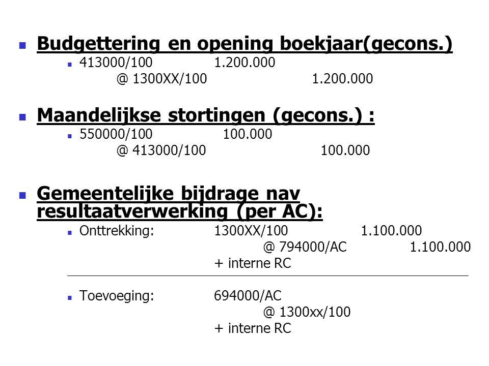 Budgettering en opening boekjaar(gecons.) 413000/1001.200.000 @ 1300XX/1001.200.000 Maandelijkse stortingen (gecons.) : 550000/100 100.000 @ 413000/100 100.000 Gemeentelijke bijdrage nav resultaatverwerking (per AC): Onttrekking: 1300XX/1001.100.000 @ 794000/AC1.100.000 + interne RC Toevoeging: 694000/AC @ 1300xx/100 + interne RC