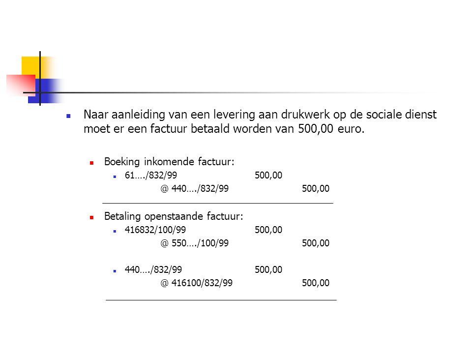 Naar aanleiding van een levering aan drukwerk op de sociale dienst moet er een factuur betaald worden van 500,00 euro.
