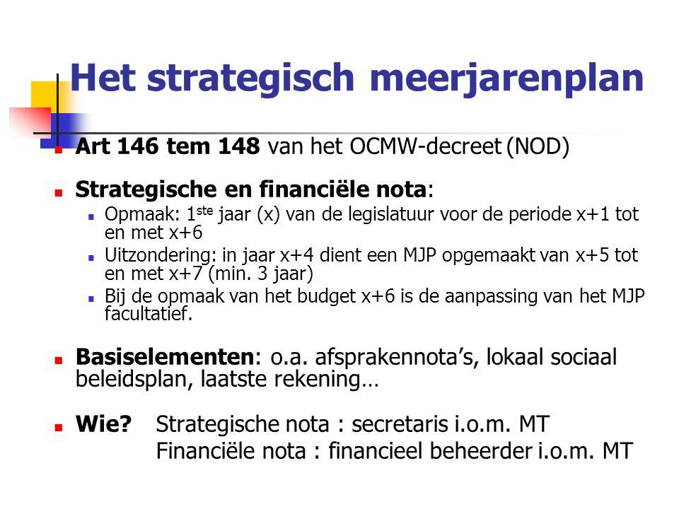 Het strategisch meerjarenplan Art 146 tem 148 van het OCMW-decreet (NOD) Strategische en financiële nota: Opmaak: 1 ste jaar (x) van de legislatuur voor de periode x+1 tot en met x+6 Uitzondering: in jaar x+4 dient een MJP opgemaakt van x+5 tot en met x+7 (min.