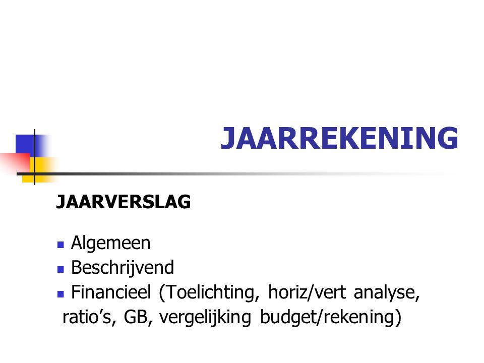 JAARREKENING JAARVERSLAG Algemeen Beschrijvend Financieel (Toelichting, horiz/vert analyse, ratio's, GB, vergelijking budget/rekening)