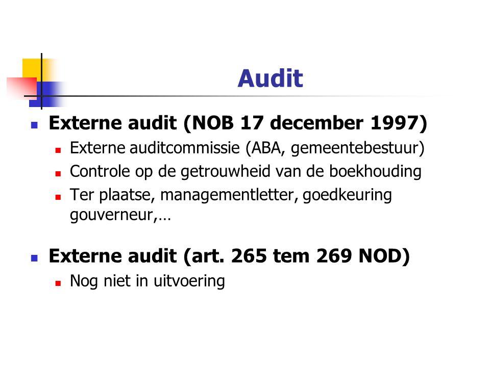 Audit Externe audit (NOB 17 december 1997) Externe auditcommissie (ABA, gemeentebestuur) Controle op de getrouwheid van de boekhouding Ter plaatse, managementletter, goedkeuring gouverneur,… Externe audit (art.