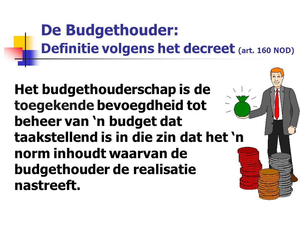 Het budgethouderschap is de toegekende bevoegdheid tot beheer van 'n budget dat taakstellend is in die zin dat het 'n norm inhoudt waarvan de budgethouder de realisatie nastreeft.