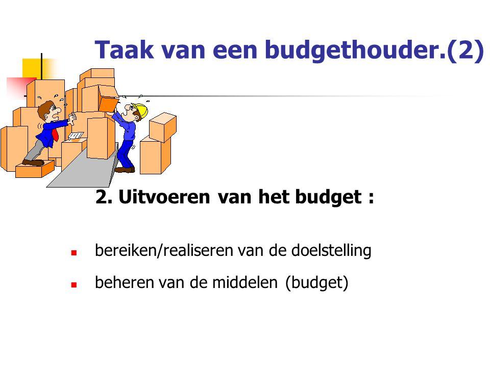 Taak van een budgethouder.(2) 2.