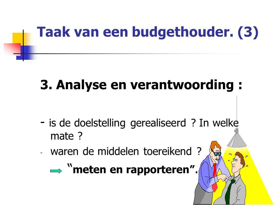 Taak van een budgethouder.(3) 3. Analyse en verantwoording : - is de doelstelling gerealiseerd .