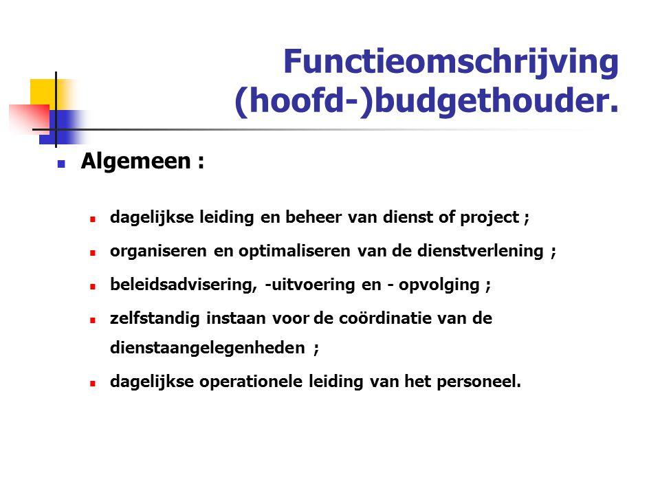 Functieomschrijving (hoofd-)budgethouder.
