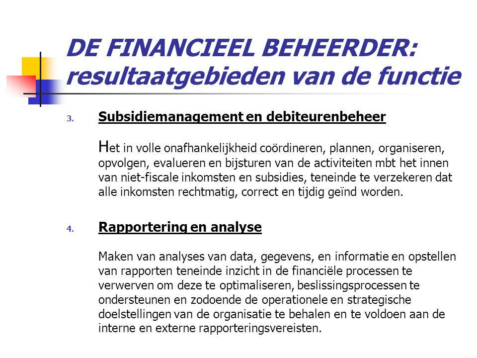 DE FINANCIEEL BEHEERDER: resultaatgebieden van de functie 3.