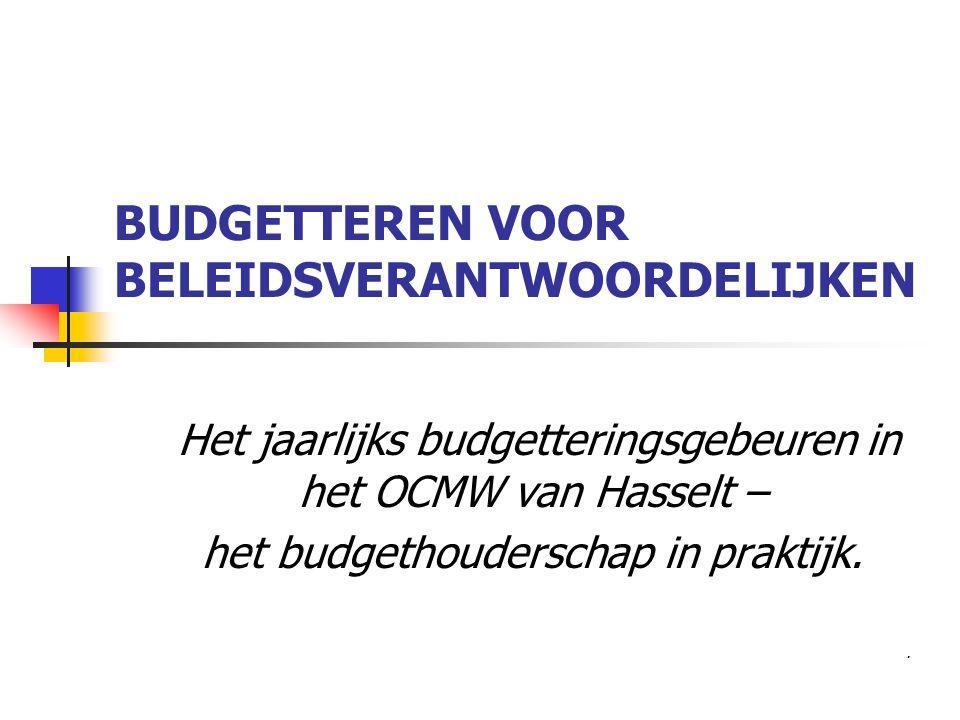 BUDGETTEREN VOOR BELEIDSVERANTWOORDELIJKEN Het jaarlijks budgetteringsgebeuren in het OCMW van Hasselt – het budgethouderschap in praktijk..