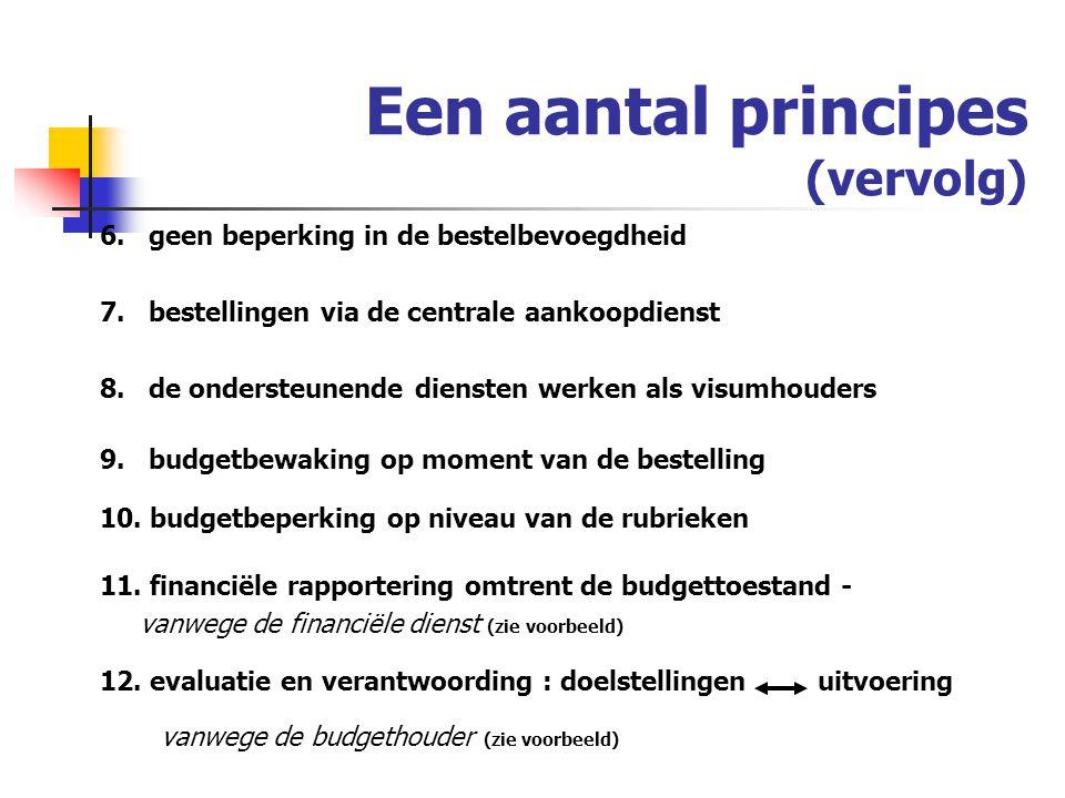 Een aantal principes (vervolg) 6.geen beperking in de bestelbevoegdheid 7.