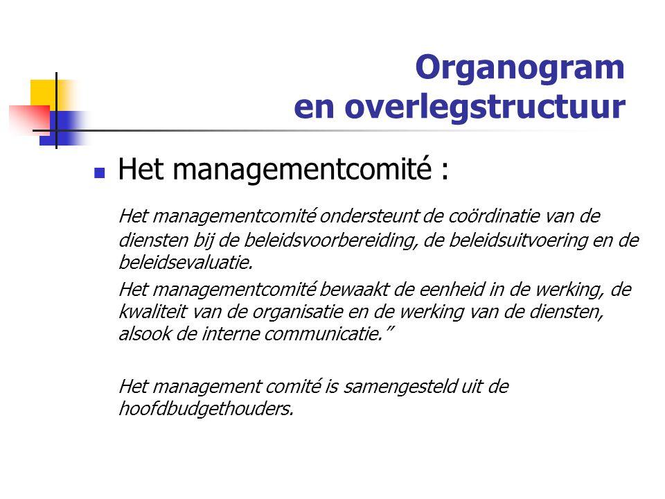 Organogram en overlegstructuur Het managementcomité : Het managementcomité ondersteunt de coördinatie van de diensten bij de beleidsvoorbereiding, de beleidsuitvoering en de beleidsevaluatie.